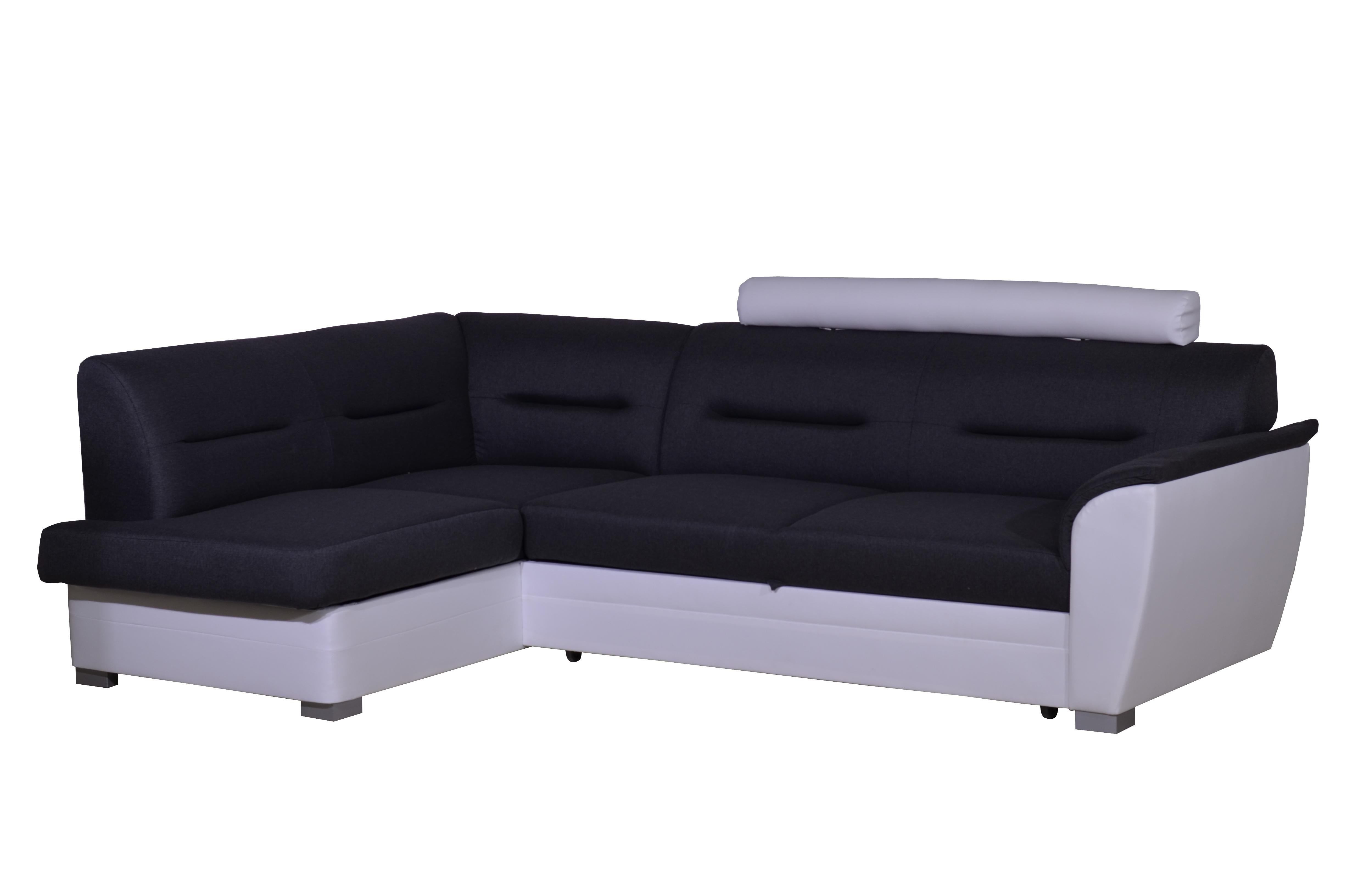 Smartshop Rohová sedačka TOLEDO se záhlavníkem, levá, látka šedá/bílá ekokůže