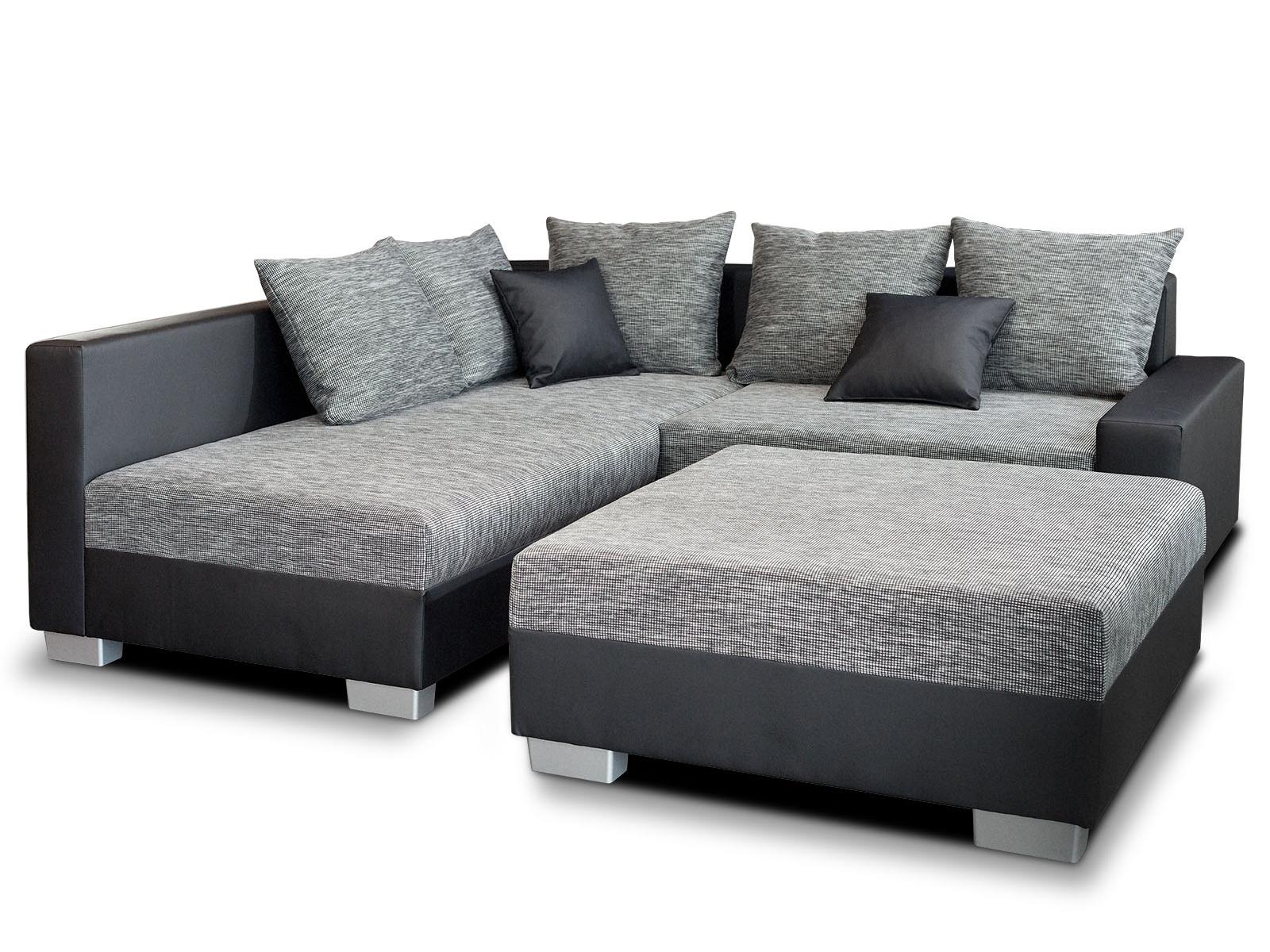 Smartshop Rohová sedačka ZOA 2 levá, šedá látka/černá ekokůže