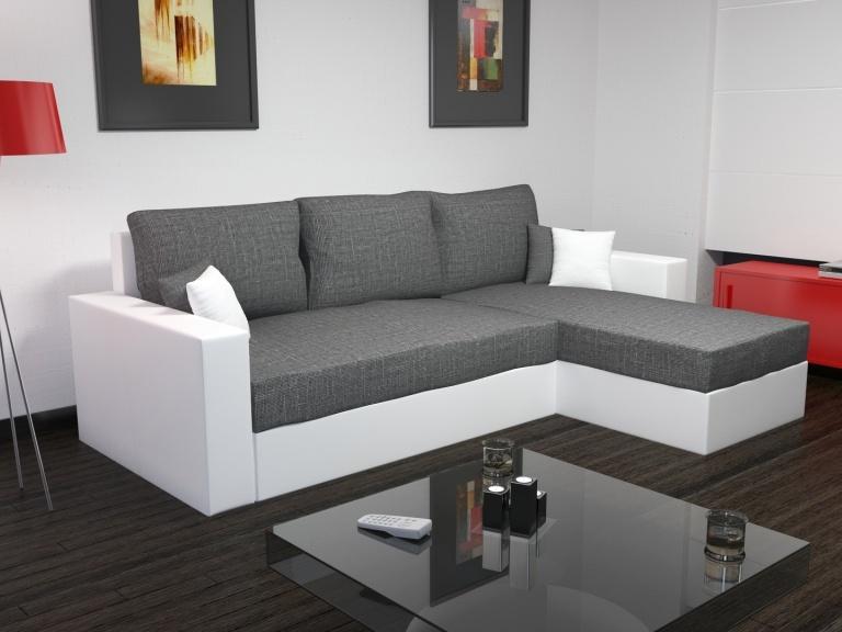 Smartshop Rohová sedačka FOKUS 1, šedá látka/bílá ekokůže