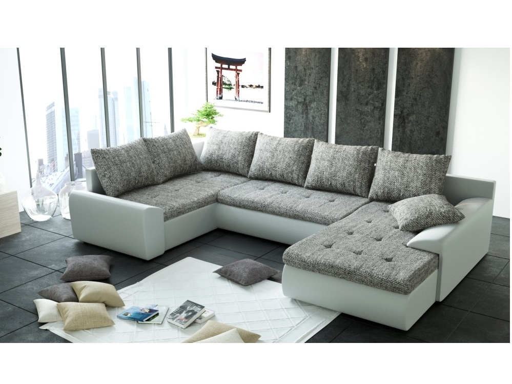Smartshop Rohová sedačka JOI II-U1 2, šedá látka/bílá ekokůže