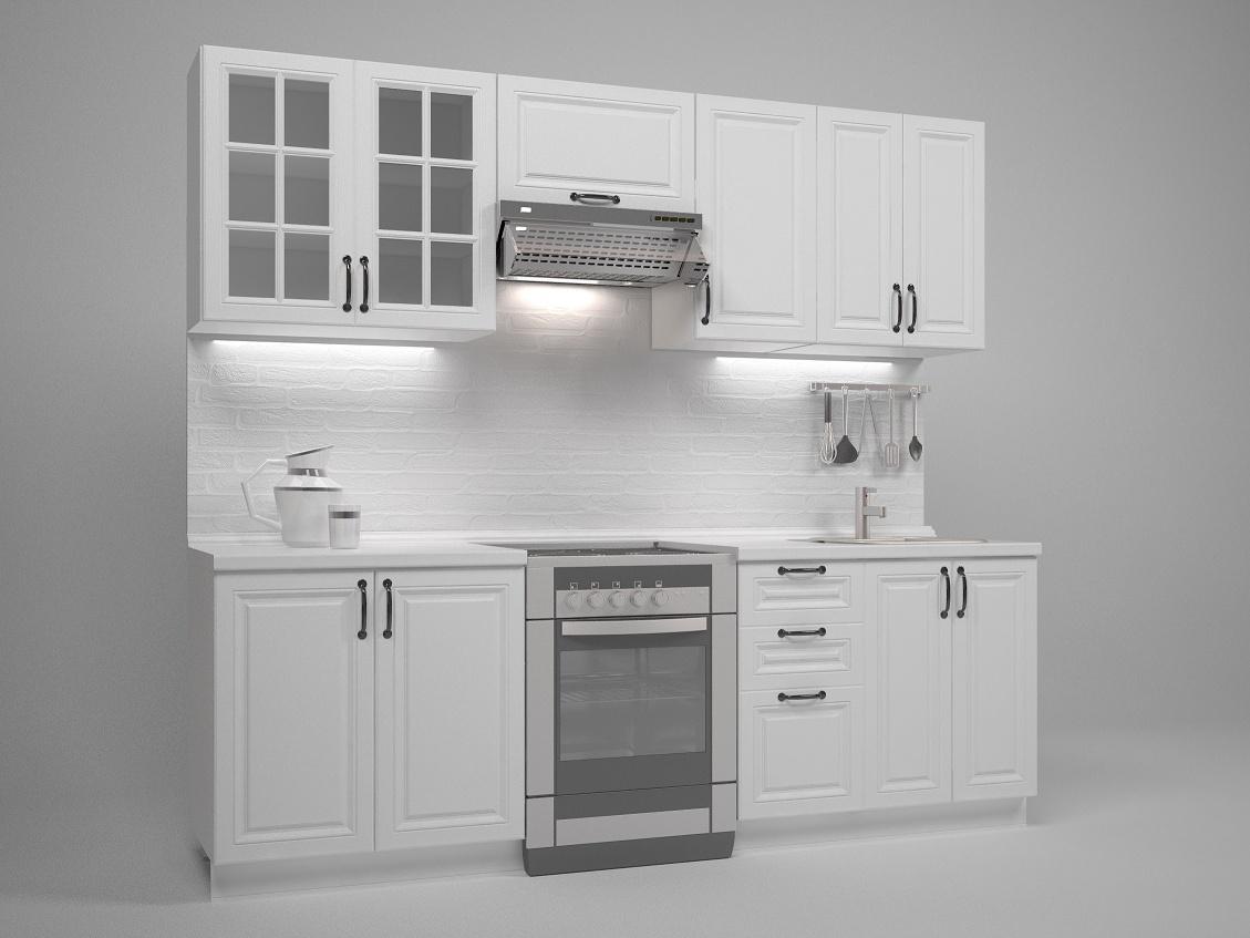 Halmar Kuchyně MICHELLE, 180/240 cm, bílá/černé úchytky