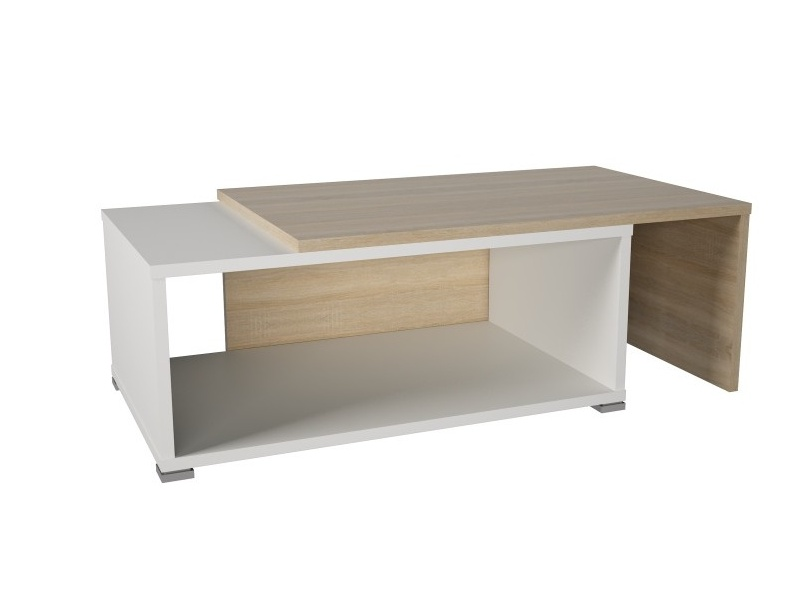 Tempo Kondela DRON konferenční rozkládací stolek, dub sonoma/bílá