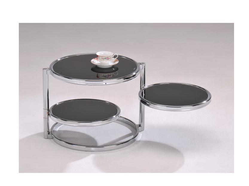 Tempo Kondela MOIRA konferenční stolek, chrom/černé sklo