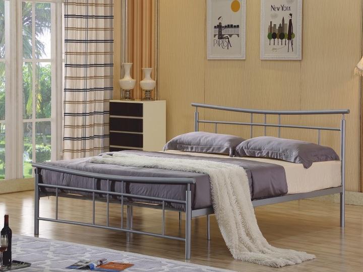 Tempo Kondela DORADO kovová postel s roštem 180x200 cm, stříbrný kov
