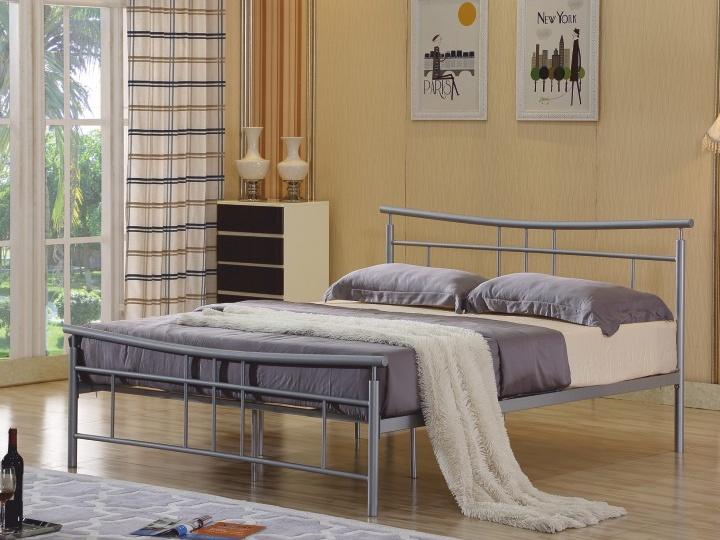 Tempo Kondela DORADO kovová postel s roštem 160x200 cm, stříbrný kov