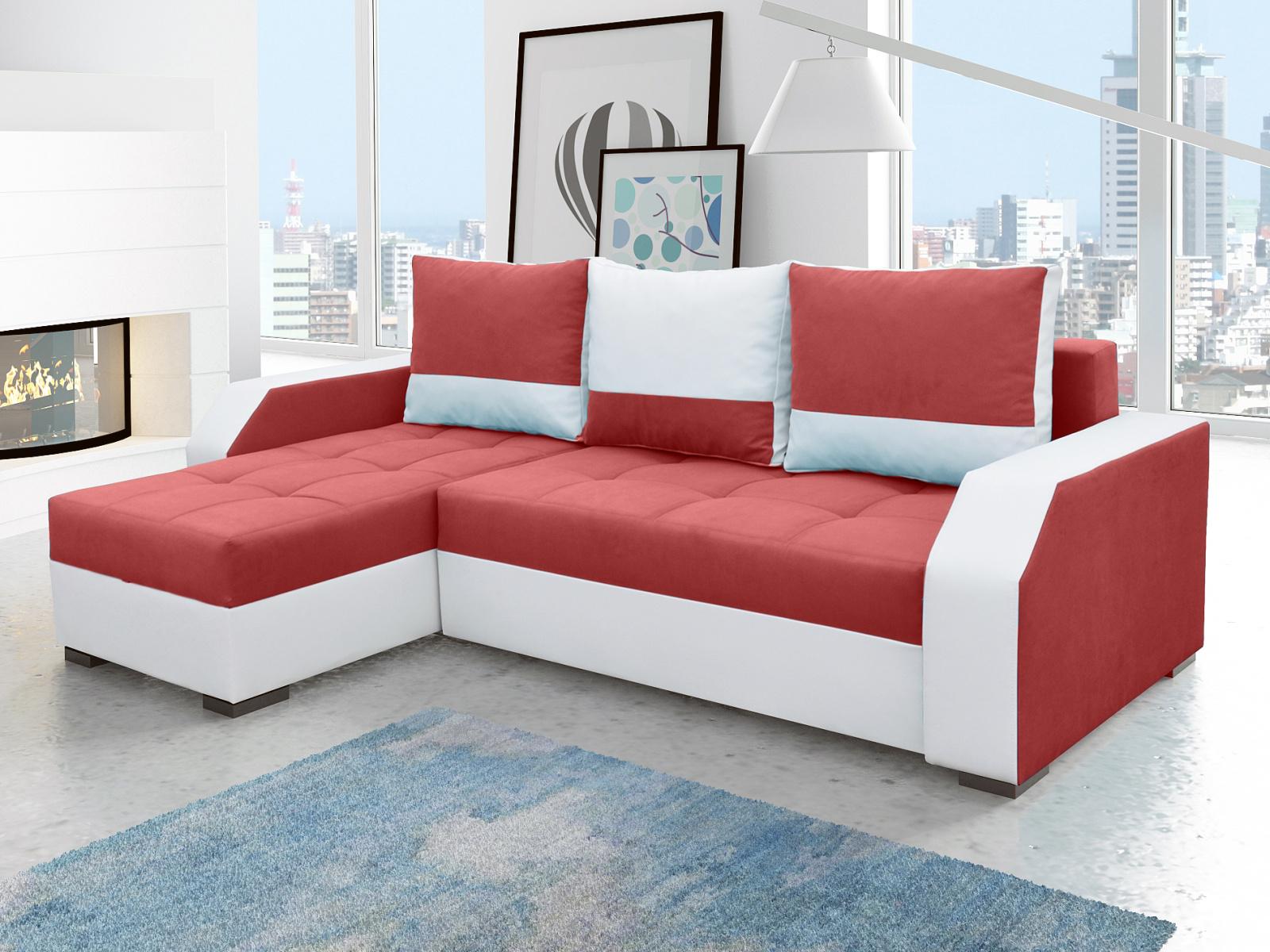 ELTAP Rohová sedačka ARIS 02, červená látka/bílá ekokůže