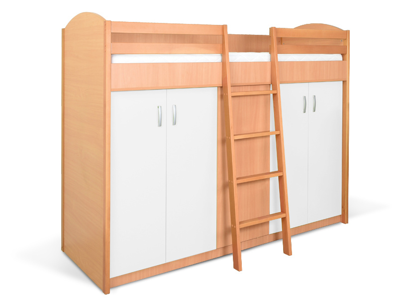 MATIS Patrová postel se skříní K2ORM, buk/bílá