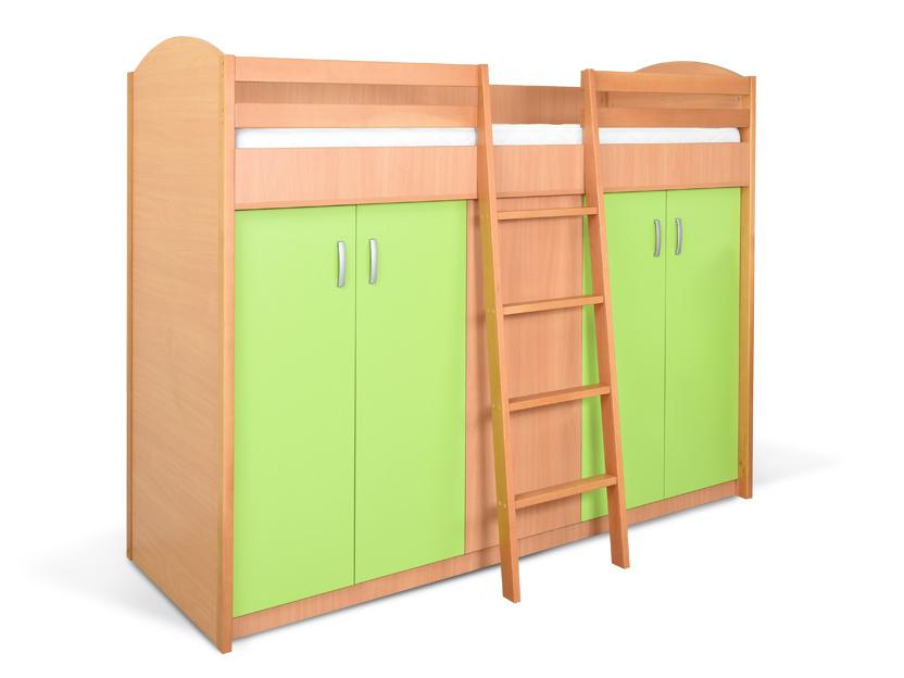 MATIS Patrová postel se skříní K2ORM, buk/zelená