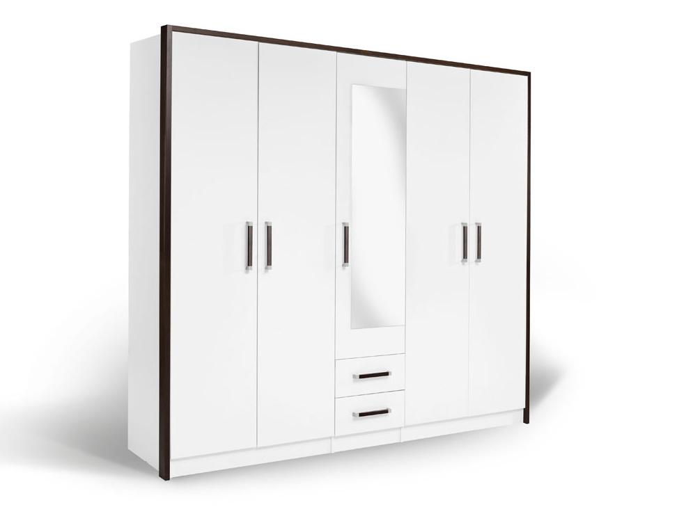MATIS Šatní skříň VERONA 5KM, bílá/wenge