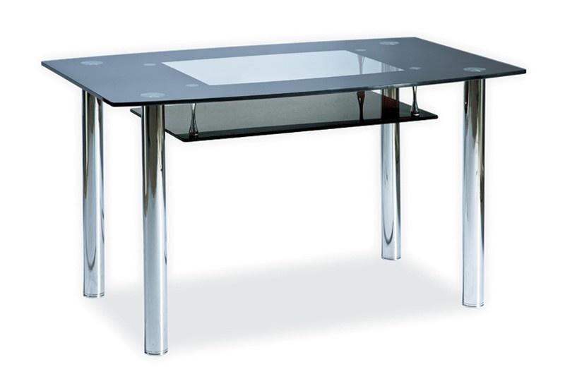 Smartshop Jídelní stůl TWIST A černá polička, kov/sklo