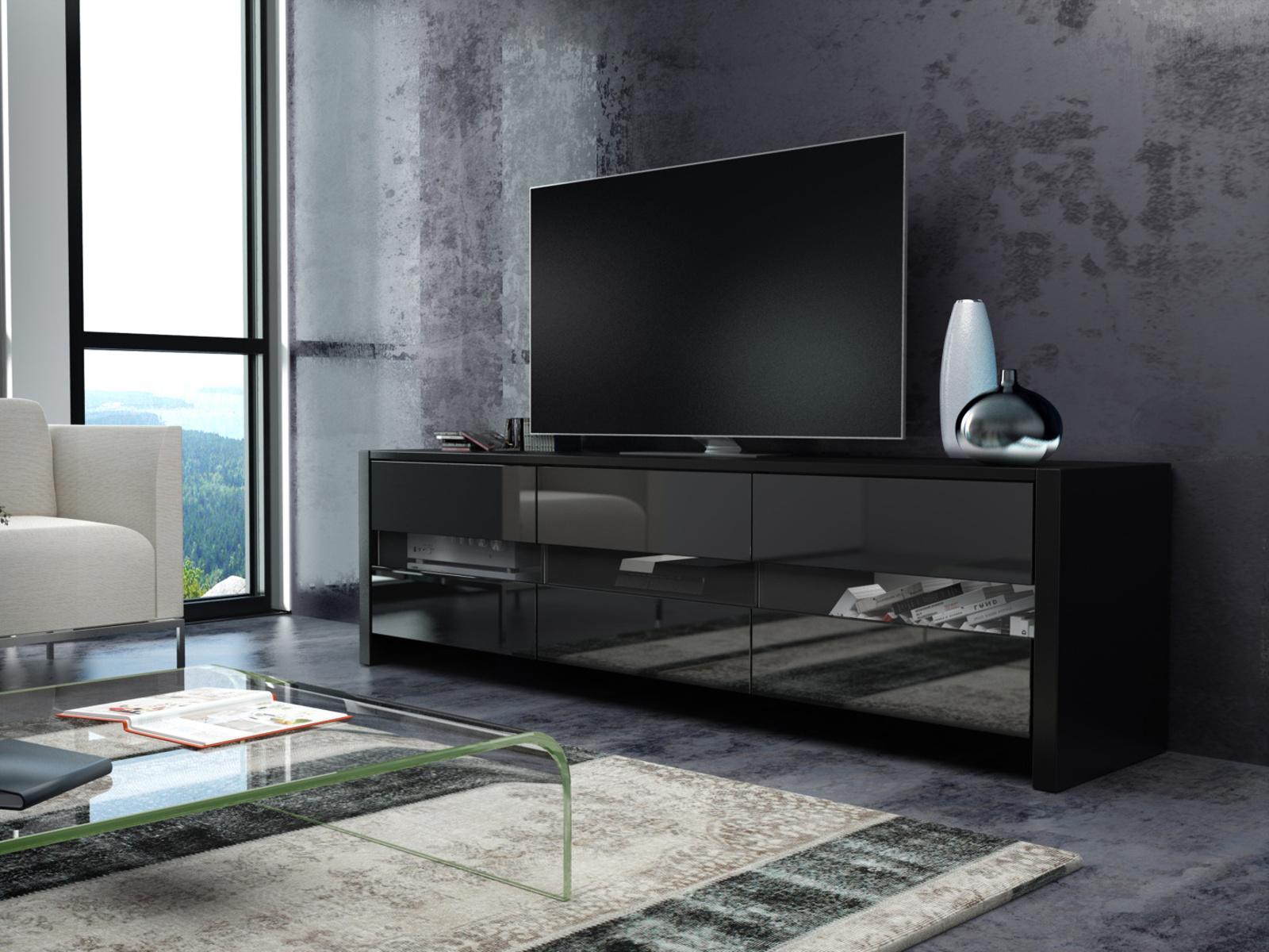 MORAVIA FLAT FOX televizní stolek, černá/černý lesk