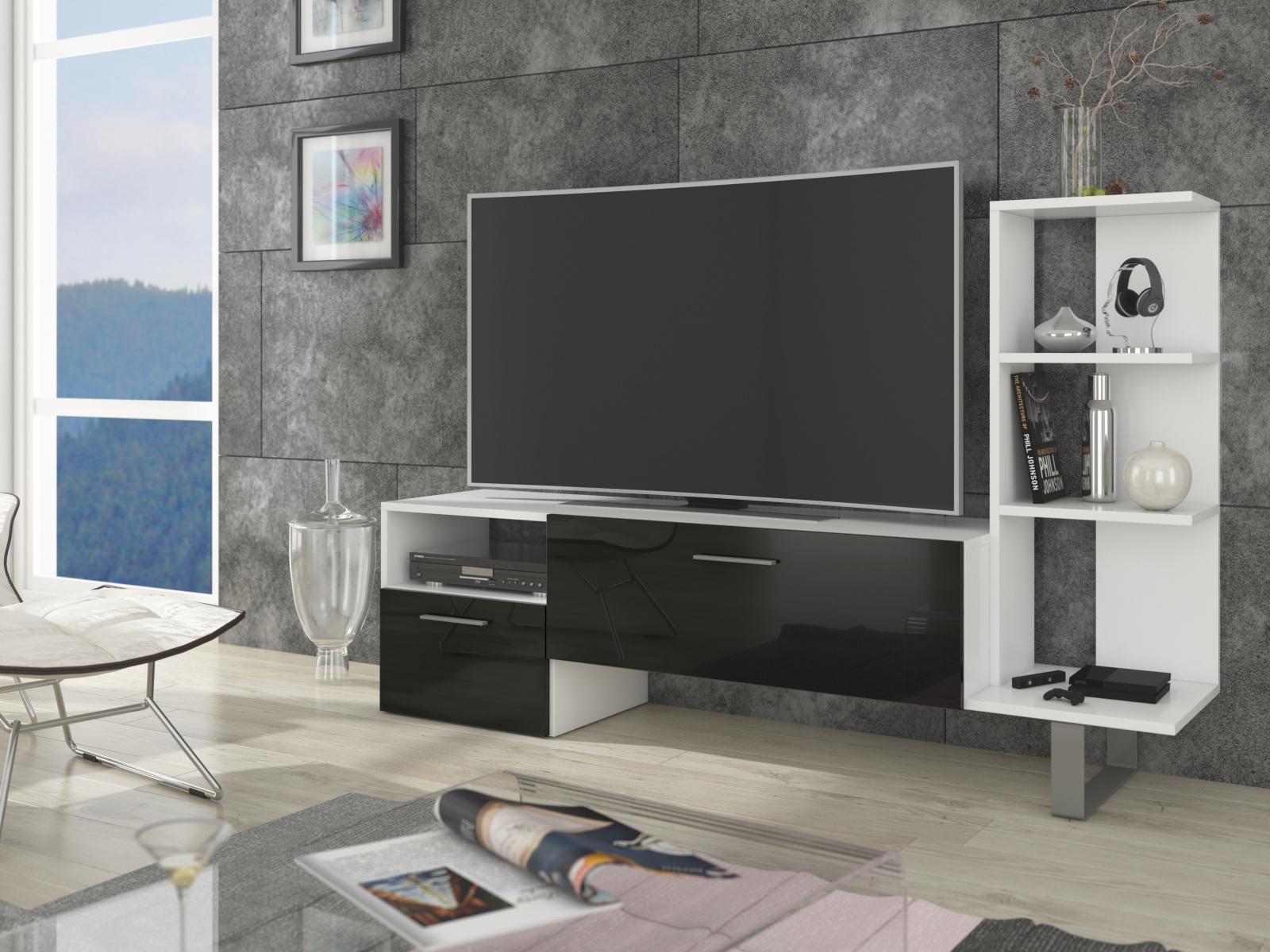 MORAVIA FLAT BEST televizní stolek, bílá/černý lesk