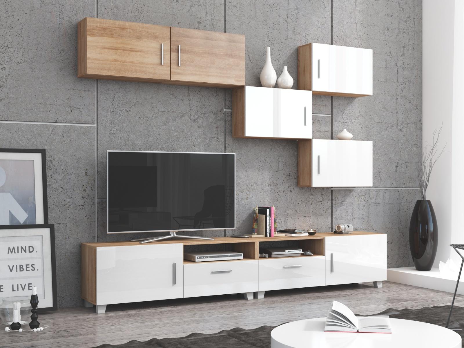 MORAVIA FLAT KUGA obývací stěna, dub sonoma/bílý lesk