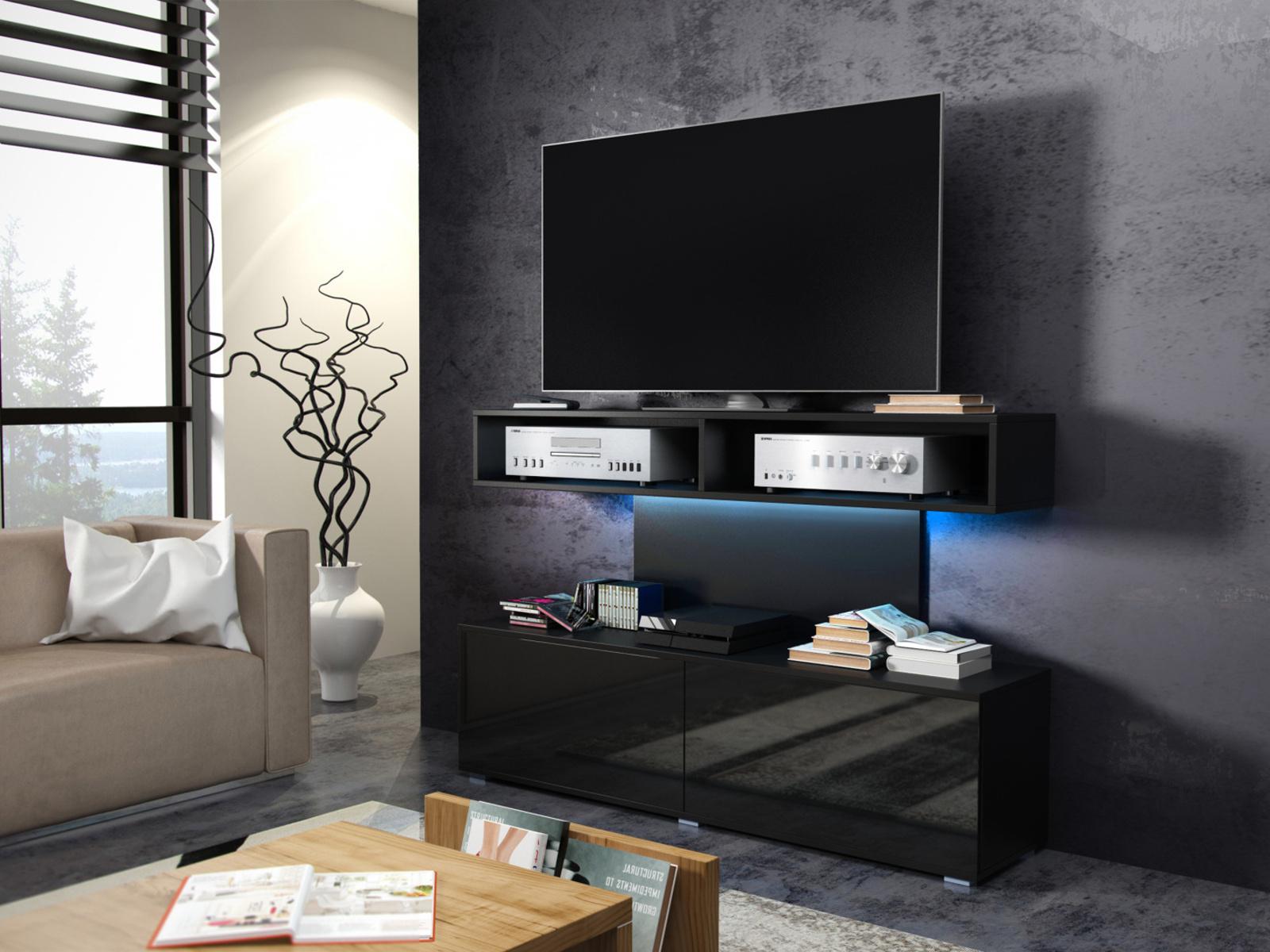 MORAVIA FLAT REX televizní stolek, černá/černý lesk