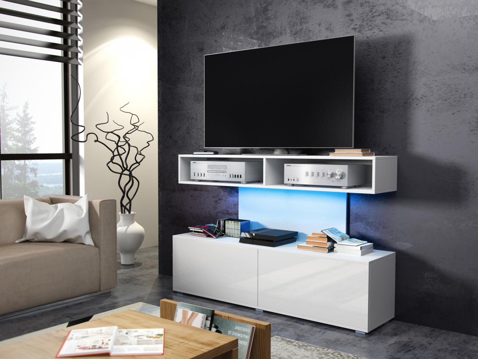 MORAVIA FLAT REX televizní stolek, bílá/bílý lesk