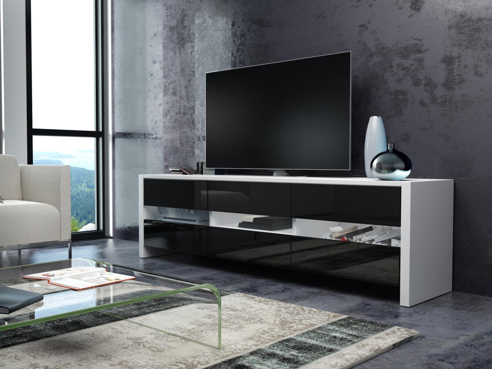 MORAVIA FLAT FOX televizní stolek, bílá/černý lesk