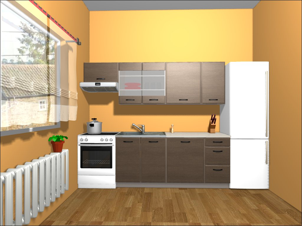 Smartshop Kuchyně APLAUS 180/240 cm, dub hnědý