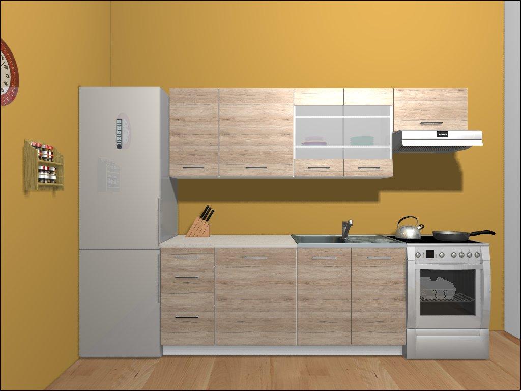 Smartshop Kuchyně HAMPER 180/240 cm, dub san remo světlý