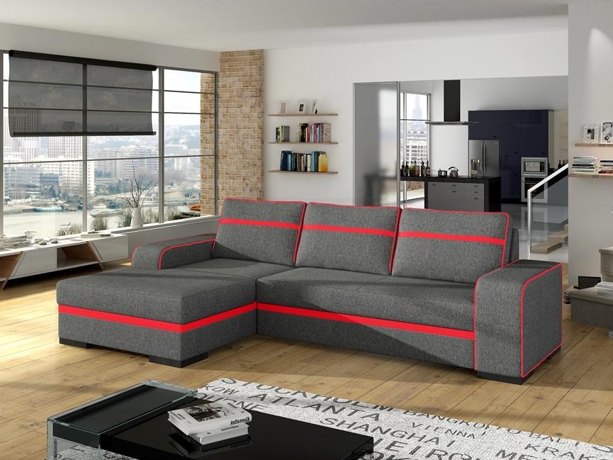 Smartshop Rohová sedačka FINN 1, šedá látka/červená ekokůže