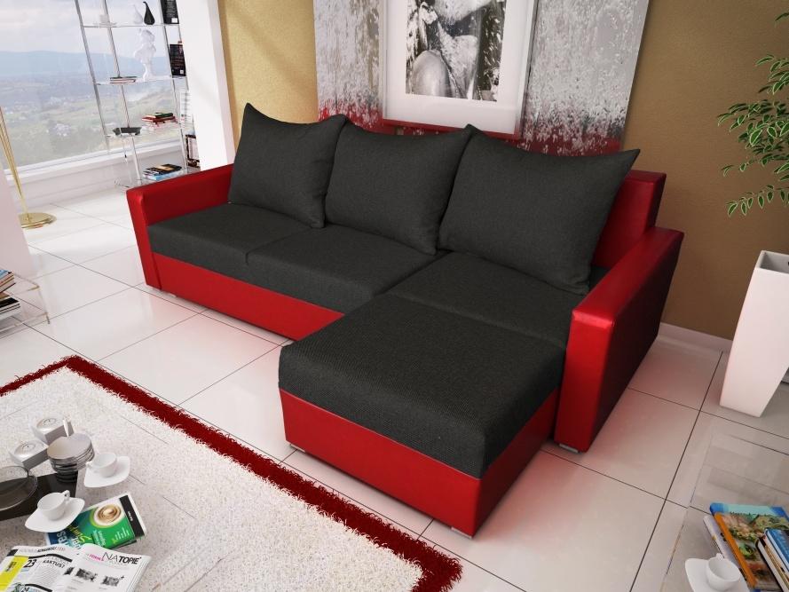 Smartshop Rohová sedačka MALAGA BIS 2, černá látka, červená ekokůže
