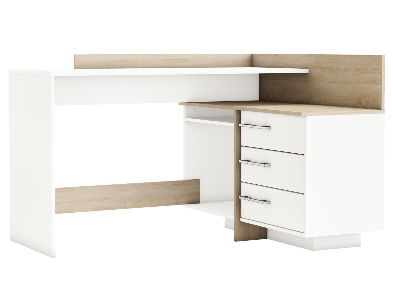 DEMEYERE THOLE rohový psací stůl, bílá/dub sonoma
