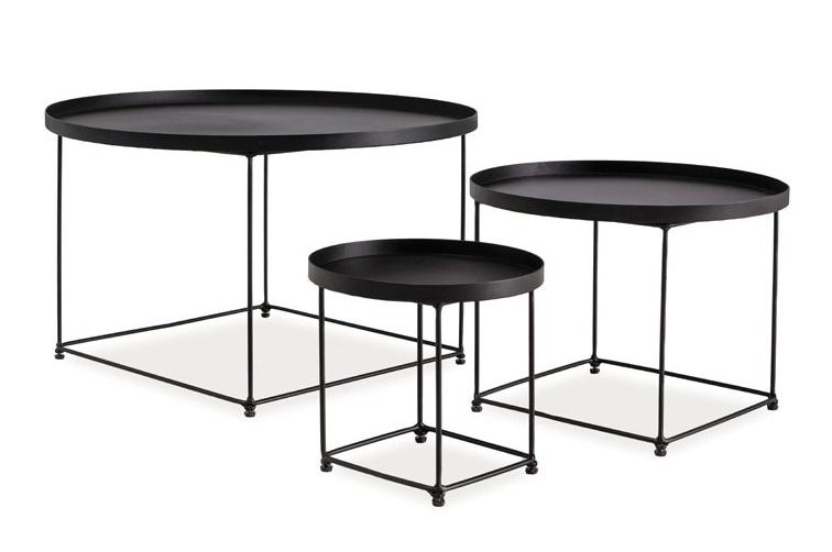 Smartshop Konferenční stolky MARA - set 3 stolků, černá