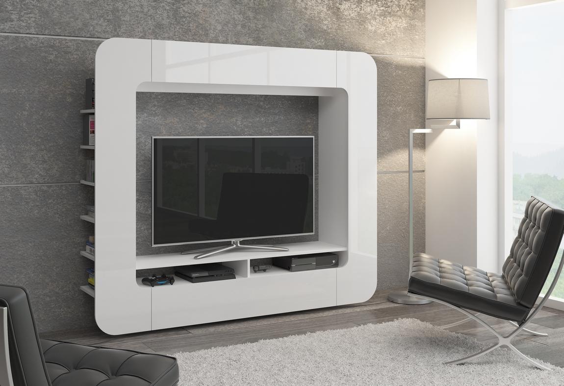 Smartshop Obývací stěna MEDIO WEISS, bílý lesk