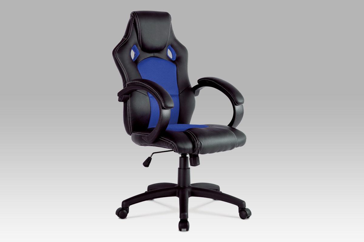 Autronic Kancelářská židle KA-F281 BLUE, černá koženka/modrá mesh