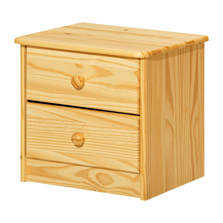 Noční stolek K1-I (2 zásuvky), masiv borovice
