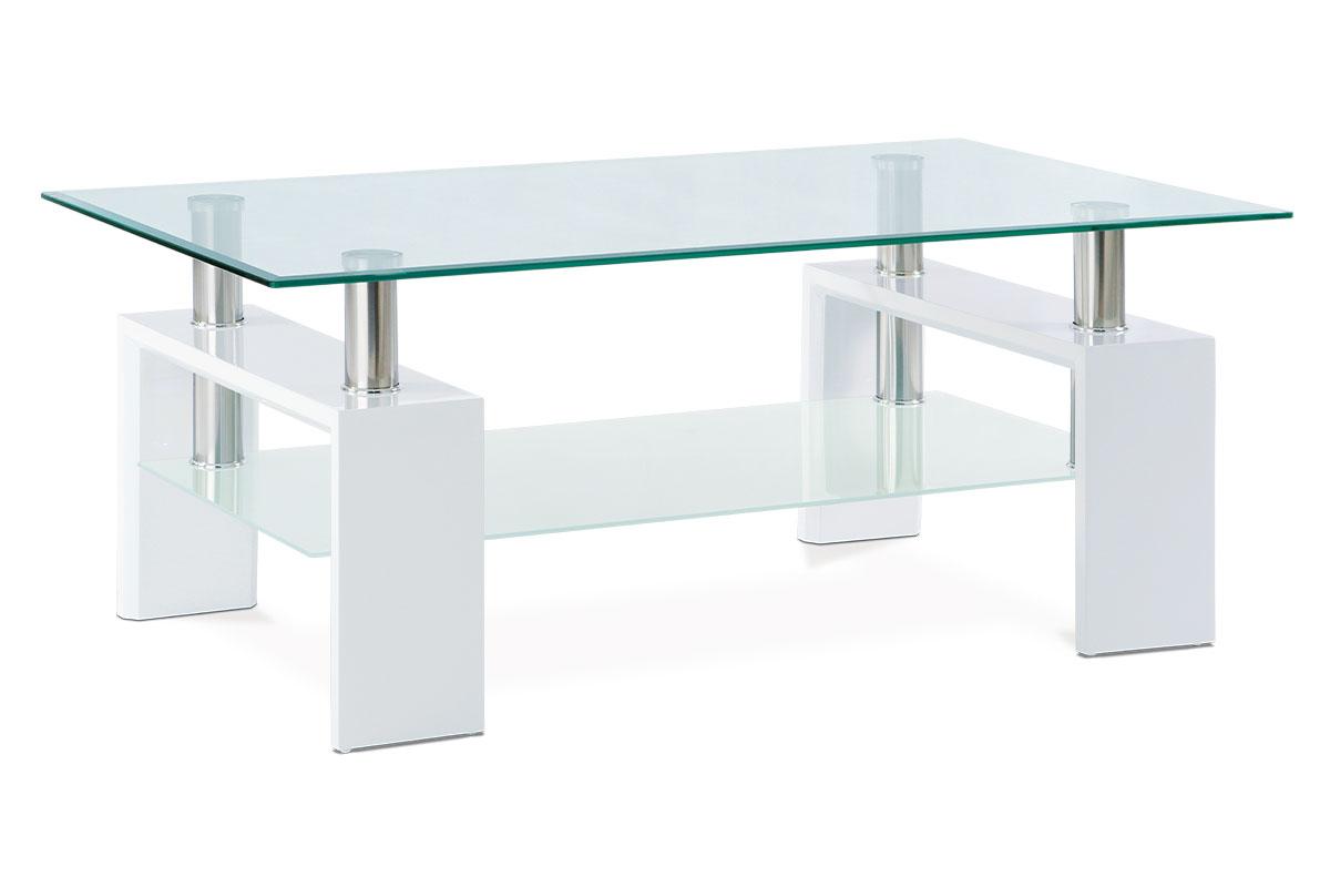 Konferenční stolek ARCHER, bílá/sklo