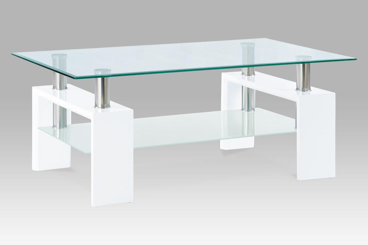 Autronic Konferenční stolek AF-1024, bílá/sklo