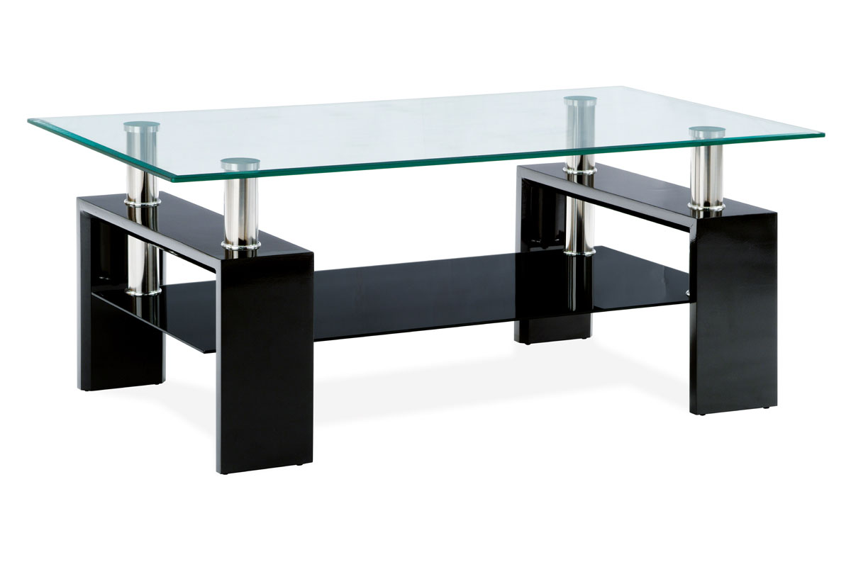 Konferenční stolek ARCHER, černá/sklo
