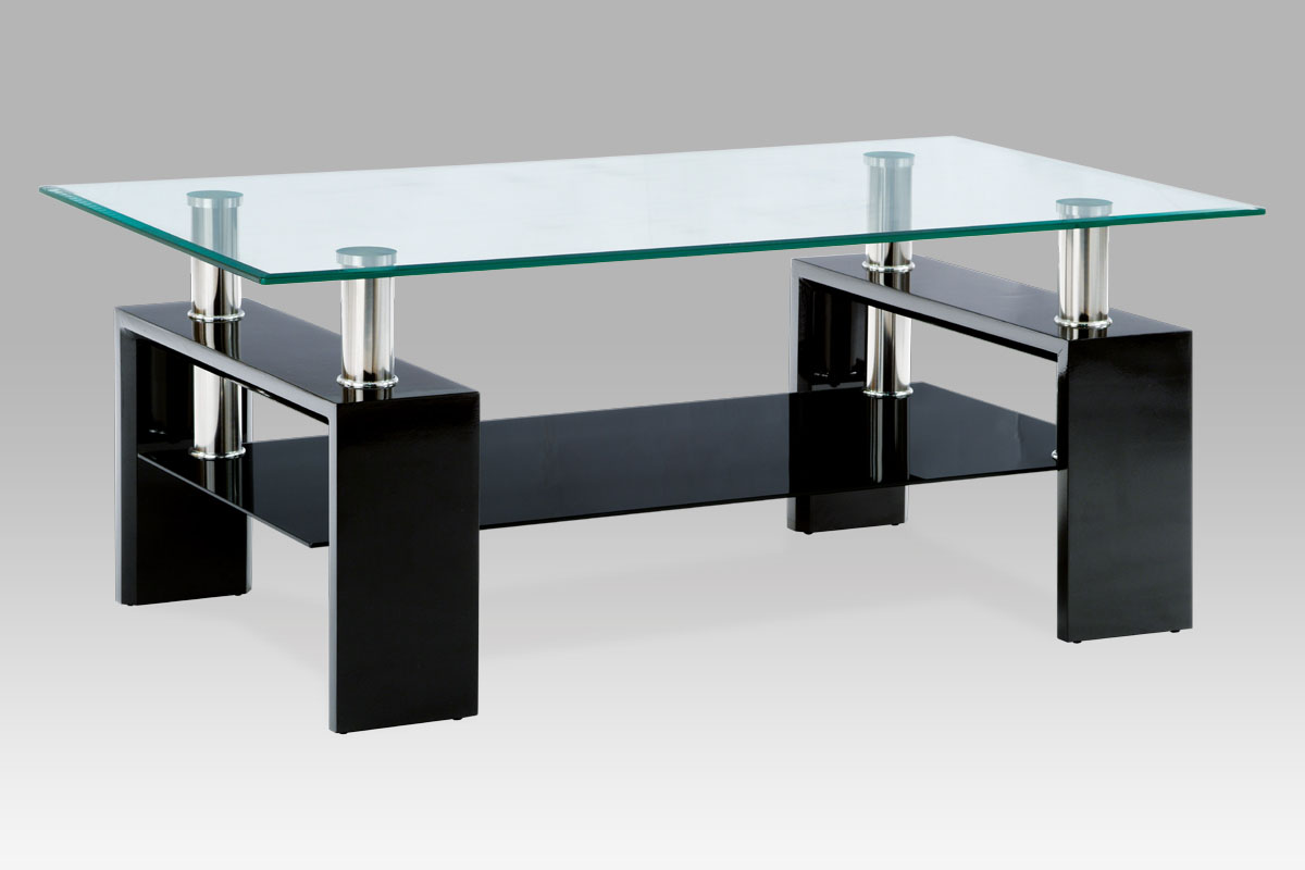 Autronic Konferenční stolek AF-1024, černá/sklo