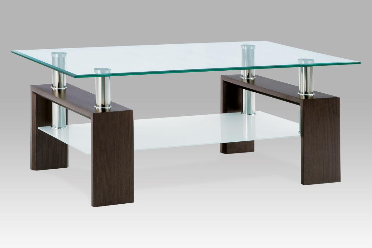Autronic Konferenční stolek AF-1024, ořech/sklo