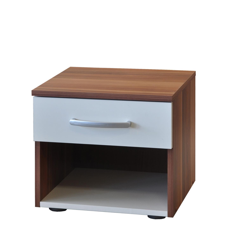 Noční stolek 60140, ořech/bílá