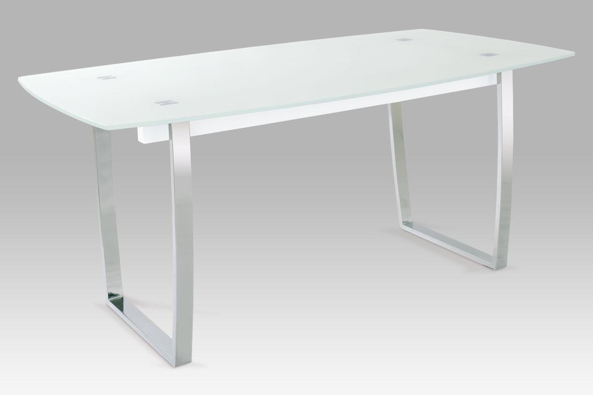 Autronic Jídelní stůl A897 WT, bílé sklo/chrom