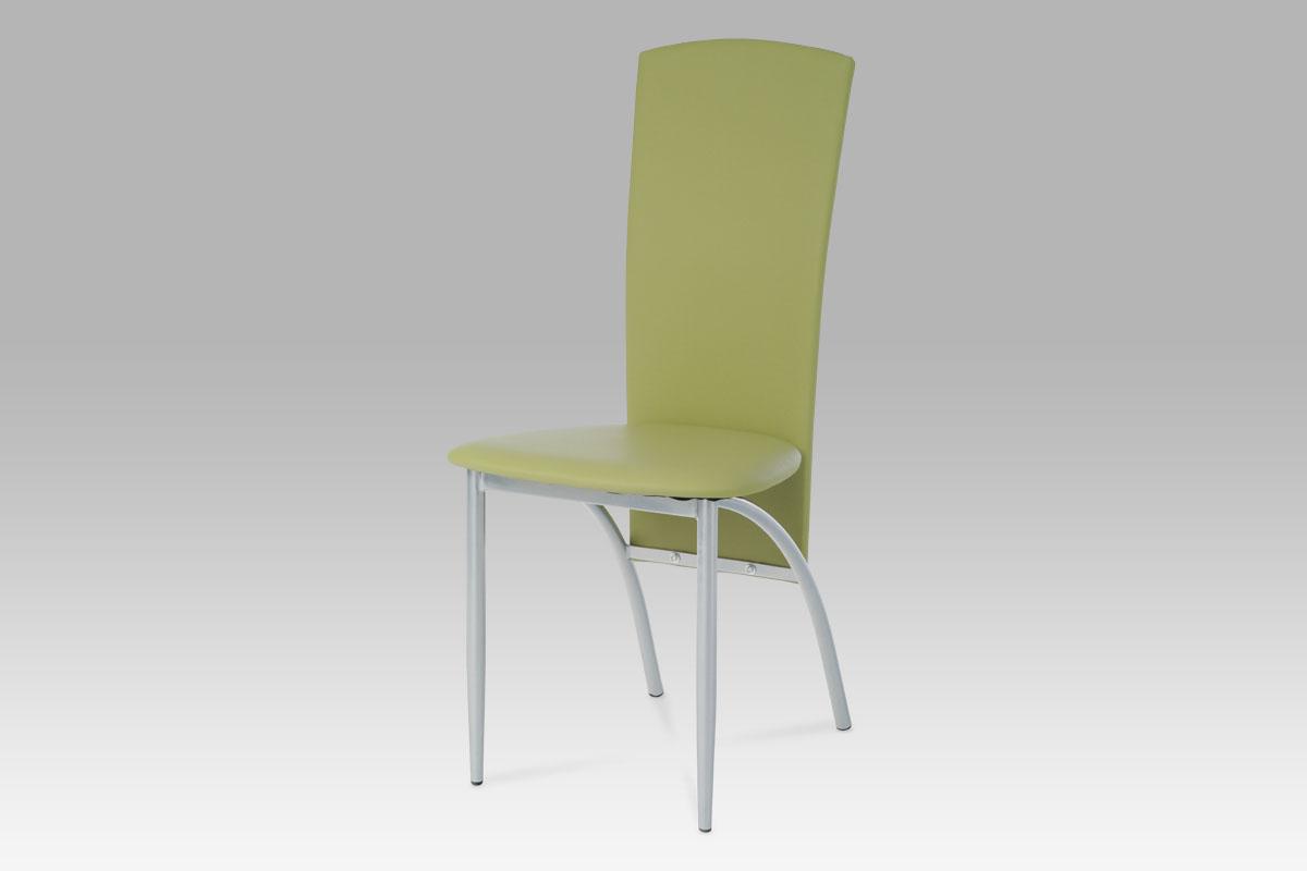 Autronic Jídelní židle AC-1017 GRN1, alu/zelená koženka