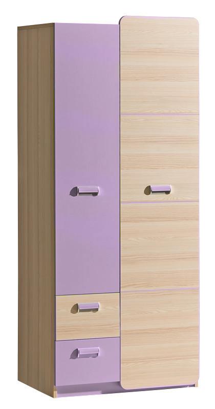 LORENTO, kombinovaná skříň L1, jasan/fialová