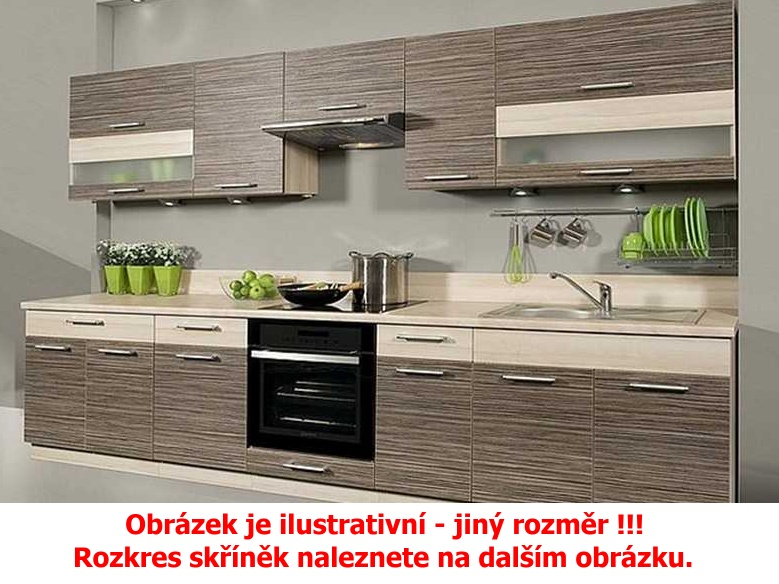 Extom Kuchyně KAMMDUO 210/270, zebrano/hruška