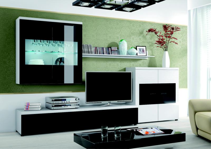 ORFA MIX obývací stěna Flash - bílá/černé sklo