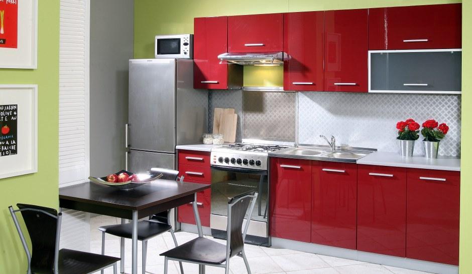 Extom Kuchyně PLATINUM 200/260 cm, korpus jersey, dvířka deep red