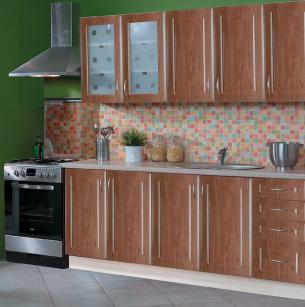 Kuchyně GOLD LUX 200 cm, korpus jersey, dvířka dub pestka