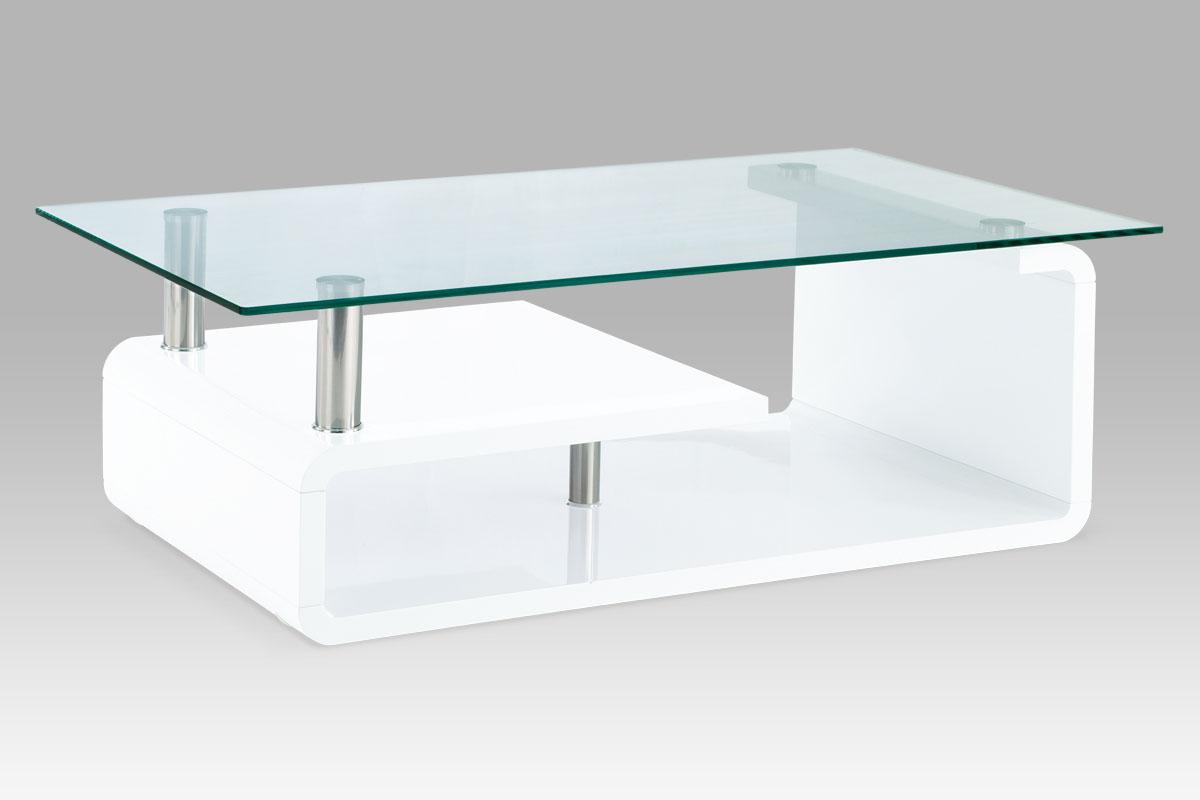 Konferenční stolek AHG-056 WT, sklo/vys. lesk bílý
