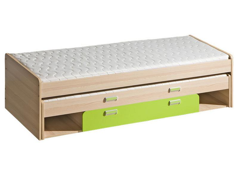 LORENTO, postel L16, jasan/limetka,včetně matrací