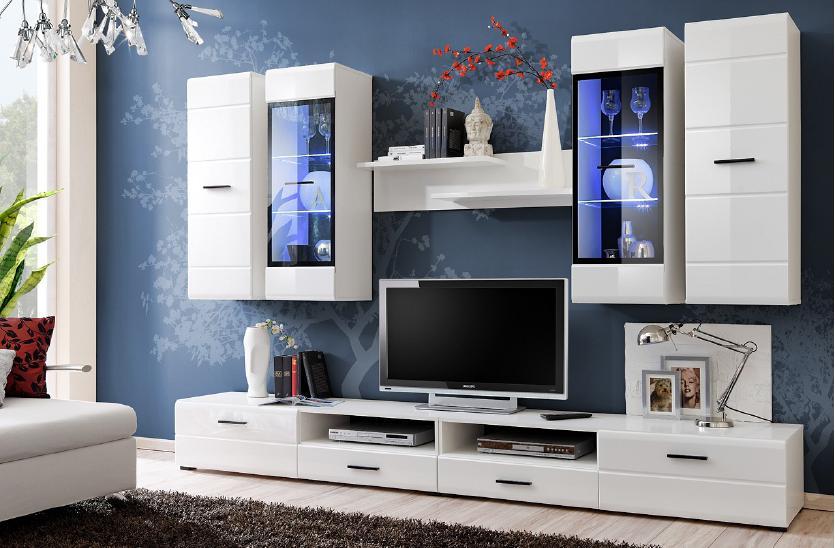 Smartshop LAUREN, obývací stěna, bílá/bílý lesk MDF DOPRODEJ