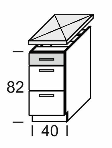 Extom KAMDUO, dolní skříňka DUO DS4/3, tráva/ořech