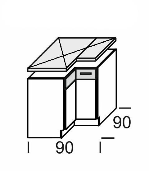 Extom KAMDUO, dolní skříňka roh. DUO DRP9, modřín/hruška