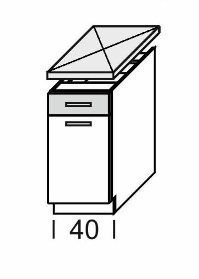 Extom KAMDUO, dolní skříňka DUO DS4/1, modřín/hruška