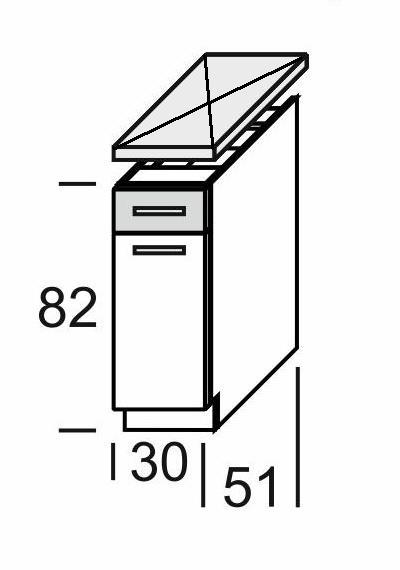 Extom KAMDUO, dolní skříňka DUO DS3/1, tráva/ořech