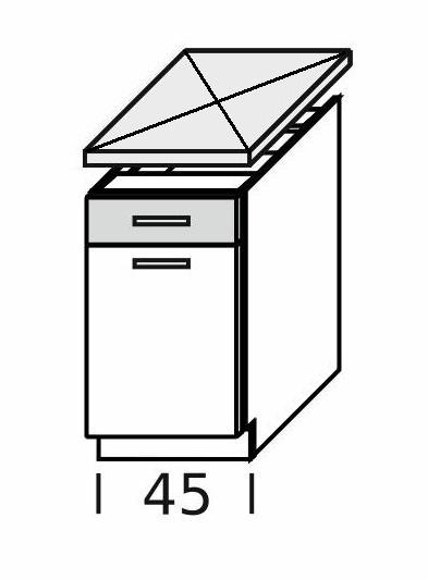 Extom KAMDUO, dolní skříňka DUO DS45/1, zebrano/hruška